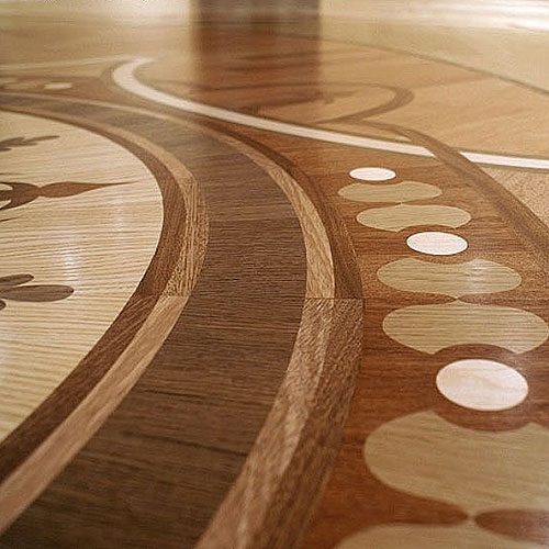 A stunning example of a Heritage Marquetry floor, finished and shining.