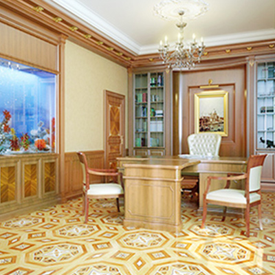 Reinforcing professional and classy, this Heritage Marquetry floor looks great in a wood-panelled office.