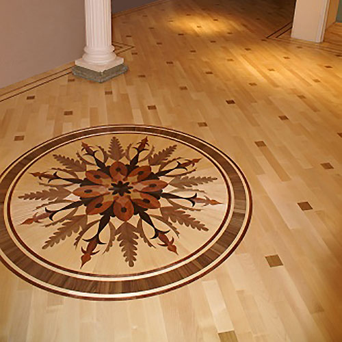 From Heritage Marquetry, medallions can add that extra style to a wood floor.