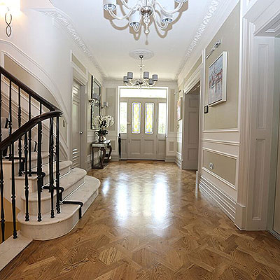 Long hallways are ideal for the Heritage Collection parquet flooring.
